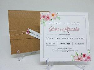Convite casamento floral rustico