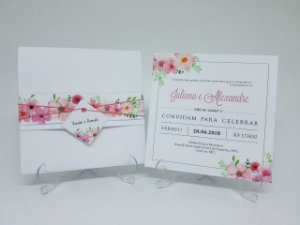 Convite com envelope floral