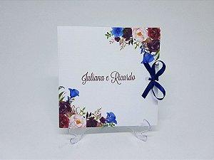 Convite azul e marsala floral