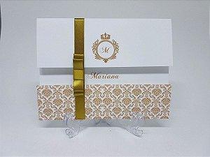 Convite debutante dourado