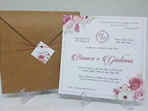 Convite casamento Rose quartz rustico