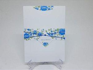 Convite para casamento rustico flores azuis