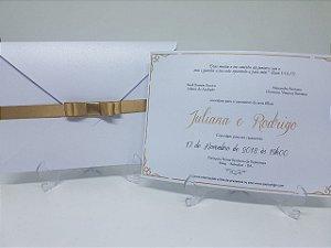 Convite casamento classico perolado