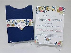 Convite para casamento azul marinho floral