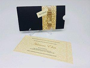 Convite 15 anos dourado e preto