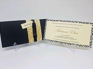 Convite preto e dourado 15 anos