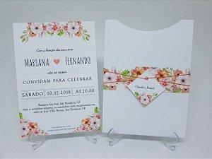 Convite casamento salmão floral coral
