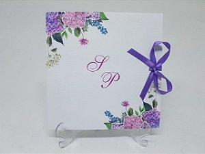 Convite de casamento lilás rosa