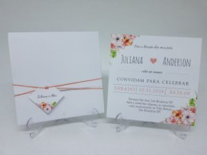 Convite casamento floral salmão