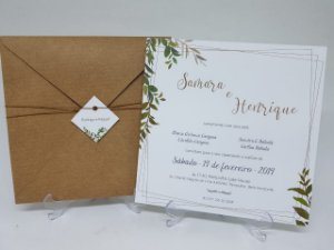 Convite casamento rustico folhagens