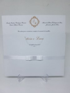 Convite casamento Clássico linho
