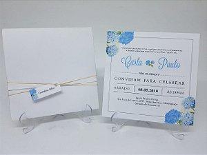 Convite casamento hortencias azuis