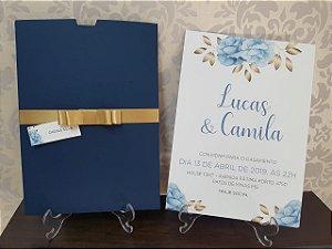 Convite casamento floral azul