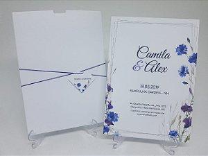 Convite branco e azul