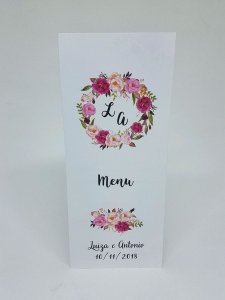 Menu de casamento (cardápio de mesa)