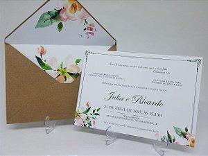 Convite casamento aquarela