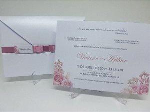 Convite casamento rose perolado