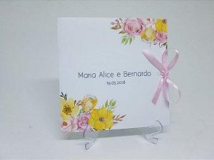 Convite floral rosa e amarelo
