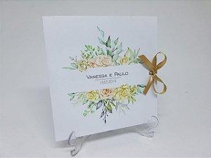 Convite floral amarelo e verde