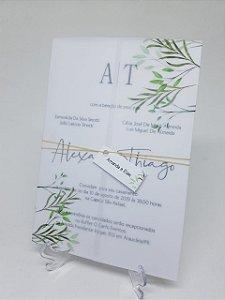 Convite casamento folhas papel vegetal