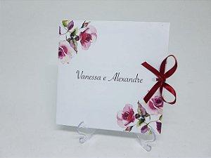 Convite marsala floral moderno