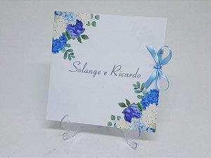 Convite floral hortencias azuis