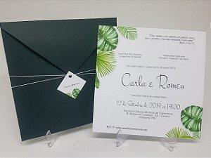 Convite folhagens envelope