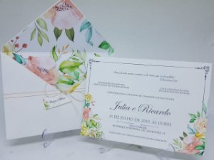 Convite casamento envelope floral