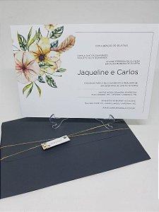 Convite cinza floral amarelo