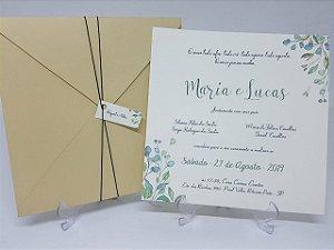 Convite envelope palha com folhas
