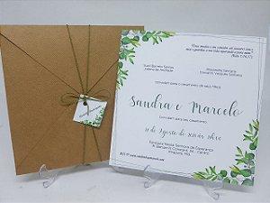Convite kraft linhao folhas verdes