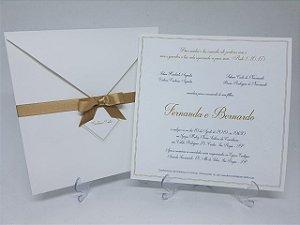 Convite casamento linho branco e dourado