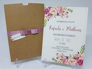 Convite casamento rustico flores