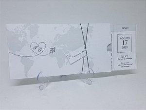 Convite casamento viagem passagem