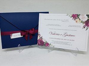 Convite casamento azul marinho e marsala