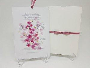 Convite casamento cerejeira vegetal rosa