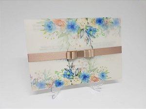 Convite vegetal azul floral vegetal