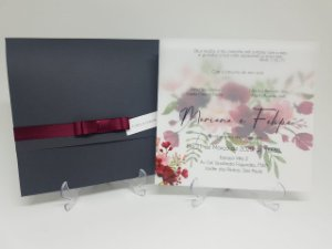 Convite Casamento Cinza e Marsala Papel Vegetal