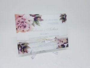 Convite casamento floral rosê papel vegetal