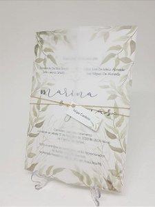 Convite casamento folhagens papel vegetal