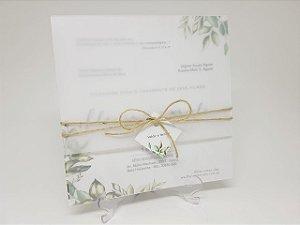 Convite folhagens em papel vegetal e sisal