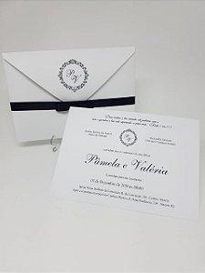 Convite casamento clássico branco e preto