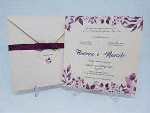 Convite casamento Rosa e marsala