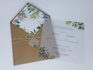 Convite de casamento rustico em papel vegetal
