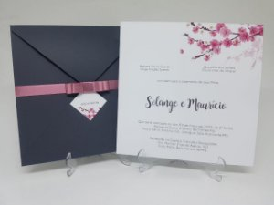 Convite casamento cerejeira cinza e rosê