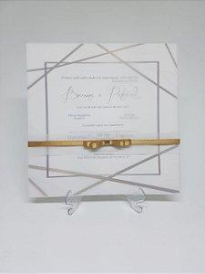 Convite de casamento papel vegetal forma geometrica