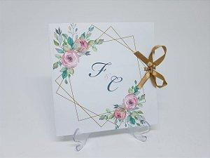 Convite de casamento flores e forma geometrica