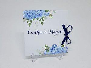Convite casamento azul em oferta promocao