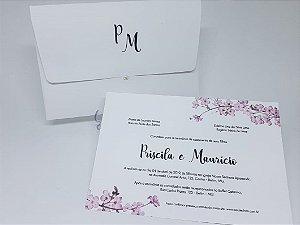 Convite casamento cerejeira envelope forrado