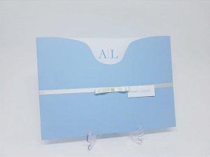 Convite de casamento azul serenity e branco